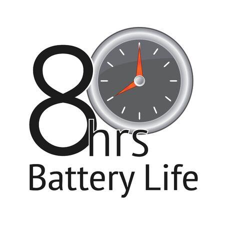 白の背景に 8 時間のバッテリ寿命バナー。生産性エンブレム