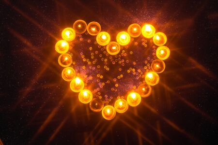 heart shaped candles with isolated background