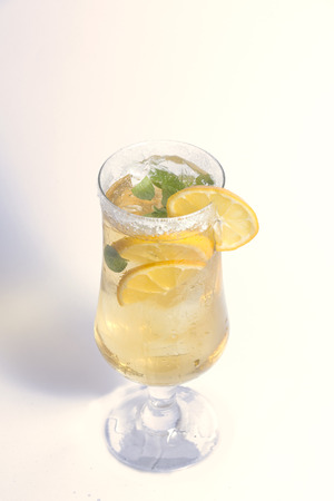 lemon cocktail composition isolated on white texture Stock Photo
