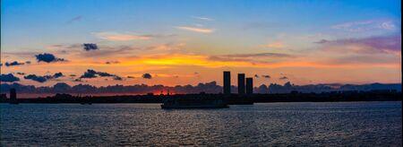 sunset city sillhouette photography on yenikapi istanbul