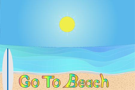 Go to beach consept vector drawing illustration Illustration