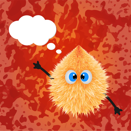 storybook: Fluffy monster drawing with texture and talking balloon