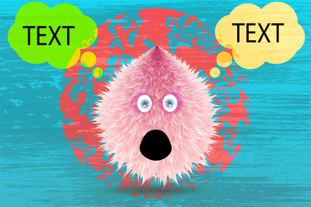 Fluffy monster with texture and talking balloon