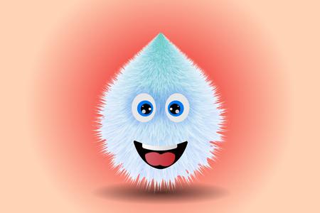 Fluffy smiling monster drawing vector illustration