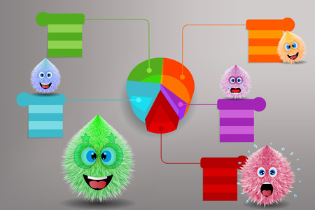 3d pie chart with fluffy monster vector drawing Illustration