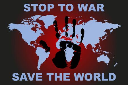 Stop to war poster with human hand print and world map vector stop to war poster with human hand print and world map vector stock vector 84435600 gumiabroncs Choice Image