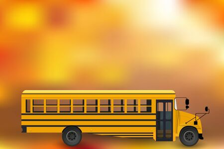 school bus vector drawing with background composition