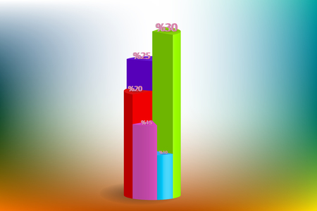simple colored 3d pie chart desing vector Illustration