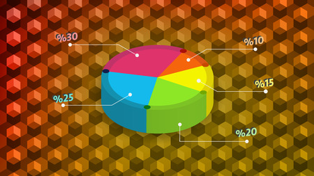 Simple colored 3D pie chart with background design vector