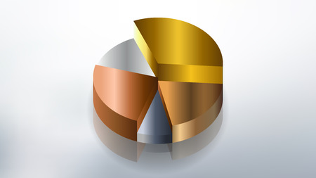 simple gold and silver colored pie chart desing vector Illustration
