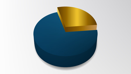 Simple gold colored 3D pie chart with background design vector