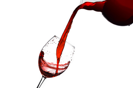 red wine goblet on isolated white background composition photography