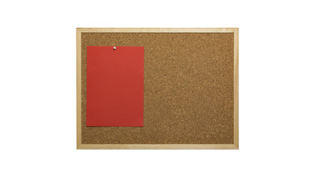 Cork bulletin board with wooden frame, pinned colored paper, isolated on white