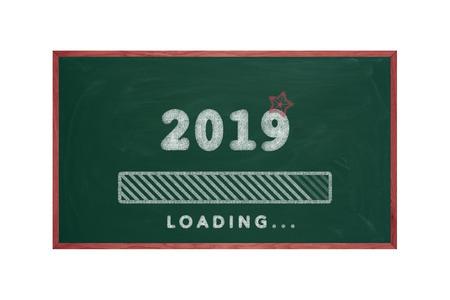 Loading bar 2019 green chalkboard, happy new year