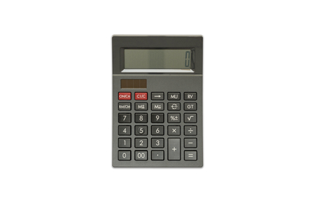 Black Calculator on isolated white background, Top View