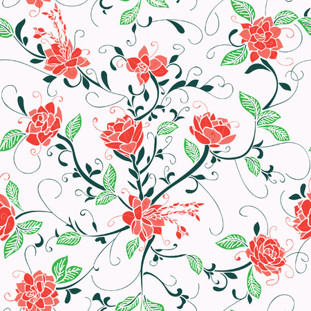 Red roses, romantic modern pattern with a vintage feel. Seamless pattern. Great for Spring  summer fabric, product, scrap booking, gift wrap, wallpaper design projects. Surface pattern design - Vector