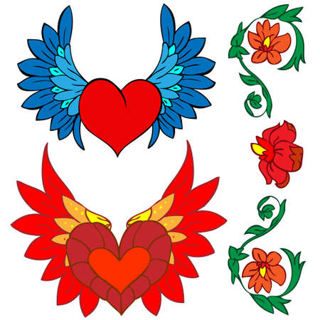 A set of ornaments for the Valentines day. Images style is tattoo and the Renaissance. Vector