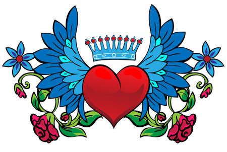 heart wings: Valentine card decor. Heart with wings on floral background
