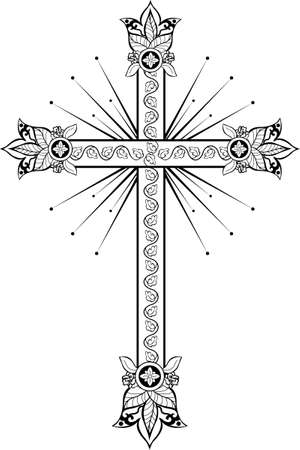 Cross with decorative tips and an ornament from oak leaves Vector