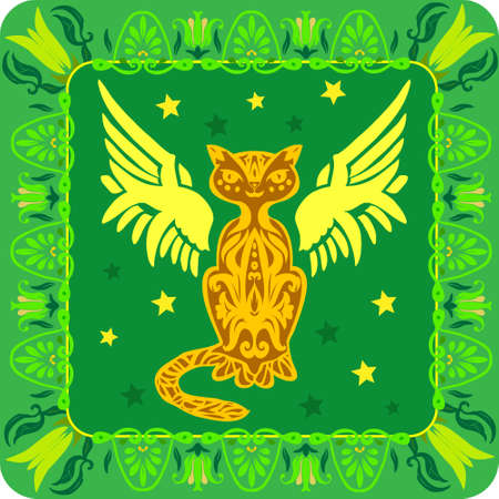 sihlouette: Star cat in an green ethnic ornament