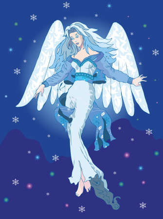 Light Angel in the night sky with snowflakes