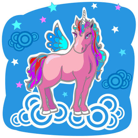 Magic Unicorn with wings on clouds. Hi rez jpg and AI files are in zip. Vector