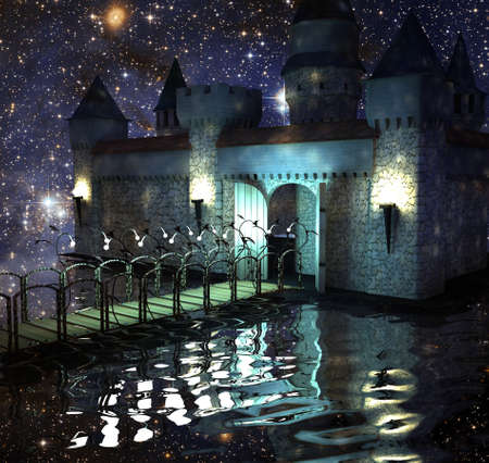 The fantastic castle in lake in the night sky with stars
