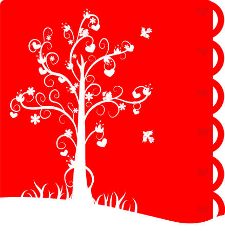Red lovely card with valentine tree and flowers and birds Vector