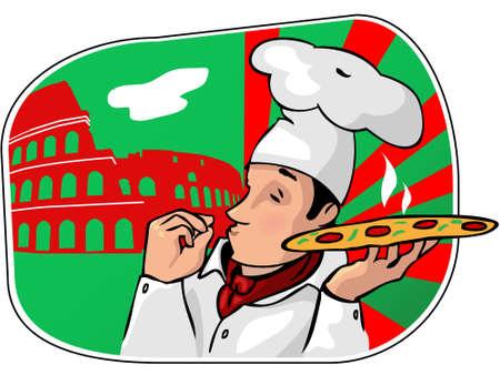 Illustrazione di uno chef italiano cartoon con pizze appena sfornate e Gv Coliseum uno sfondo