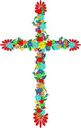 Cross consists of flowers and leaves  and with decorative tips Vector