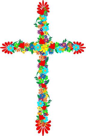 cruz roja: Cruz consta de flores y hojas y con consejos decorativos Vectores