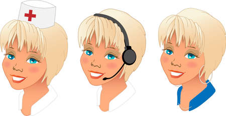 Collection of three different women profession avatars.  Vector