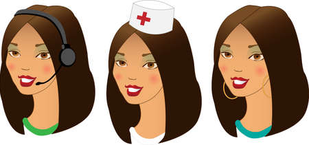 asian business woman: Collection of three different women profession avatars.