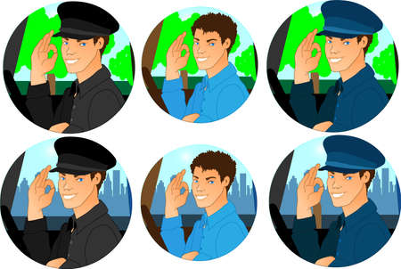 Man driver cartoon icon set. Drivers on village and city background. Vector