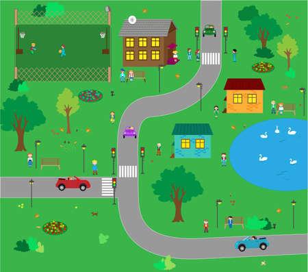 Town of kids. It shows kid's life like sport, walk ect