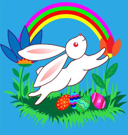 Pascua bonita caricatura Bunnyes con huevos en paisaje de dibujos animados con arco iris. Foto de archivo - 8702521