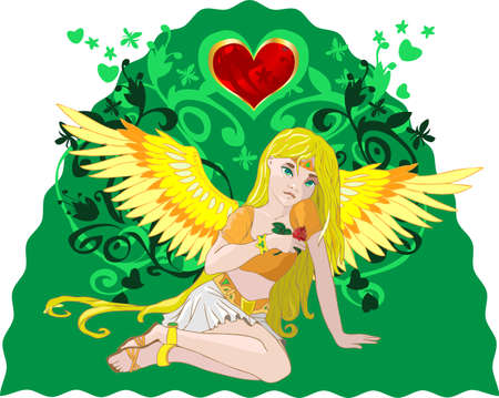Golden Angel with a rose and heart on green floral backgroung Vector