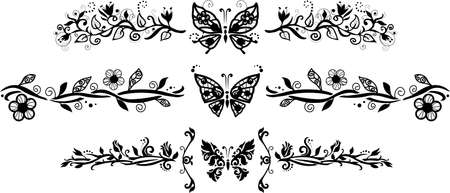 Decorative floral elements with butterflies isolate on white background for your design Vector