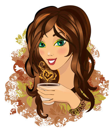 Color illustration of a Young female drinking hot coffee