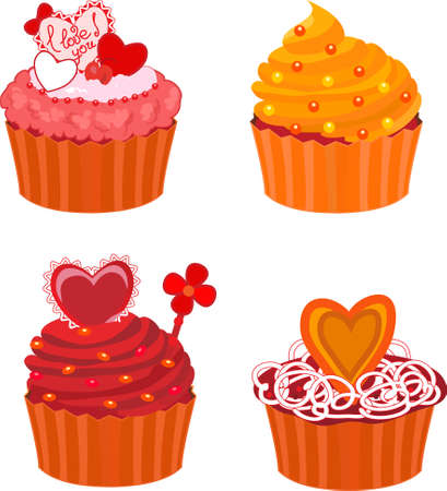 various vector cupcakes set over white background