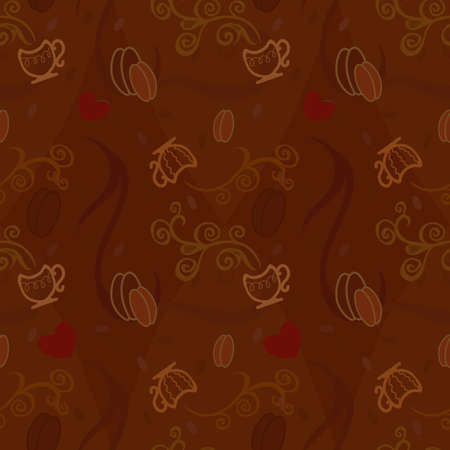 cofee: Seamless pattern  with cofee, cap and hearts Illustration