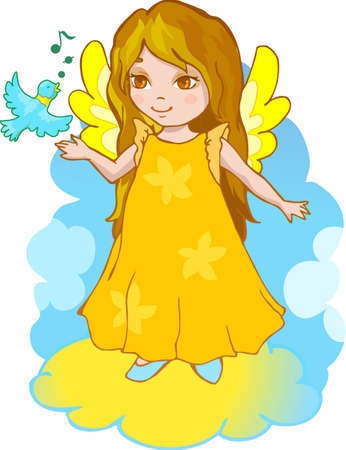 Cute cartoon angel with a singing bird