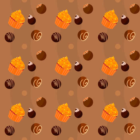 Seamless texture of cupcakes and chocolate sweets  photo