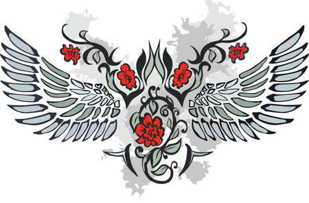 rose tattoo: Valentine card decor. Heart with wings on floral background