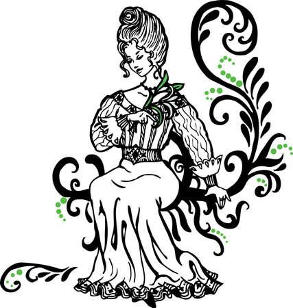 esquineros de flores: Doodle grafic drowing de hermosa mujer con un lirio en la mano