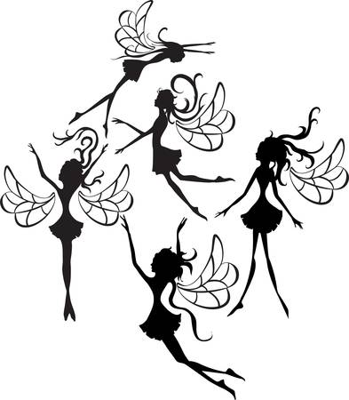 fairy silhouette: Some faities silhouettes isolated on white background