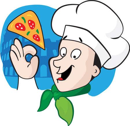 mozzarelle e formaggi: Illustrazione di un cuoco di fumetto italiano con una pizza appena sfornato e il Colosseo in uno sfondo
