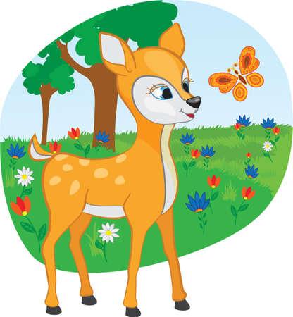 animales del bosque: Joven ciervo con una caricatura de mariposa