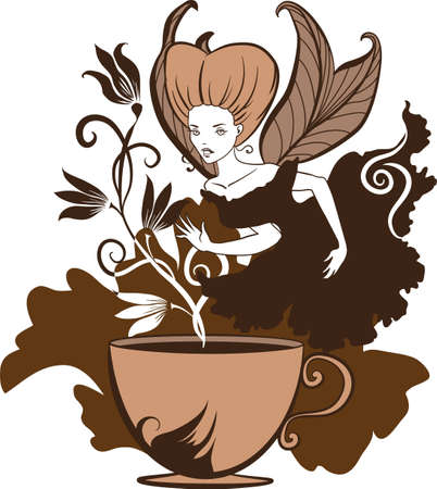 Color illustration of a beautiful coffees fairy on a floral background Vector