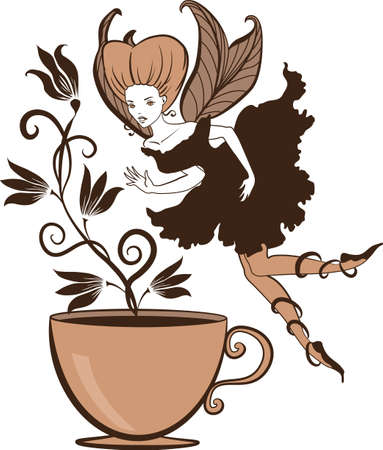 Color illustration of a beautiful coffees fairy on a floral background
